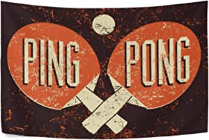 UNISE Ping Pong Typographical Vintage Grunge Style Tapestry Wall Art Blanket Tapestries Wall Hangings Bedding Aesthetic 60 x 51 Inches for Living Room Bedroom Home Decor