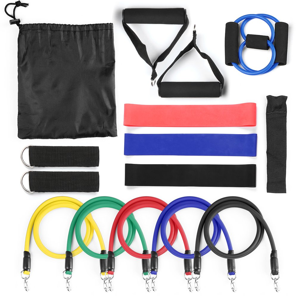 Lixada 15Pcs Resistance Bands Set,Workout Bands- with Door Anchor,Chest Expander,Cushioned Handles and Ankle Straps for Resistance Training,Physical Therapy,Home Workouts,Yoga,Pilates