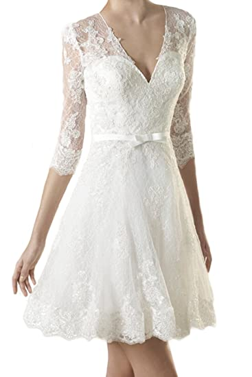 Milano Bride 2017 Short Wedding Dress V Neck 12 Sleeves Lace