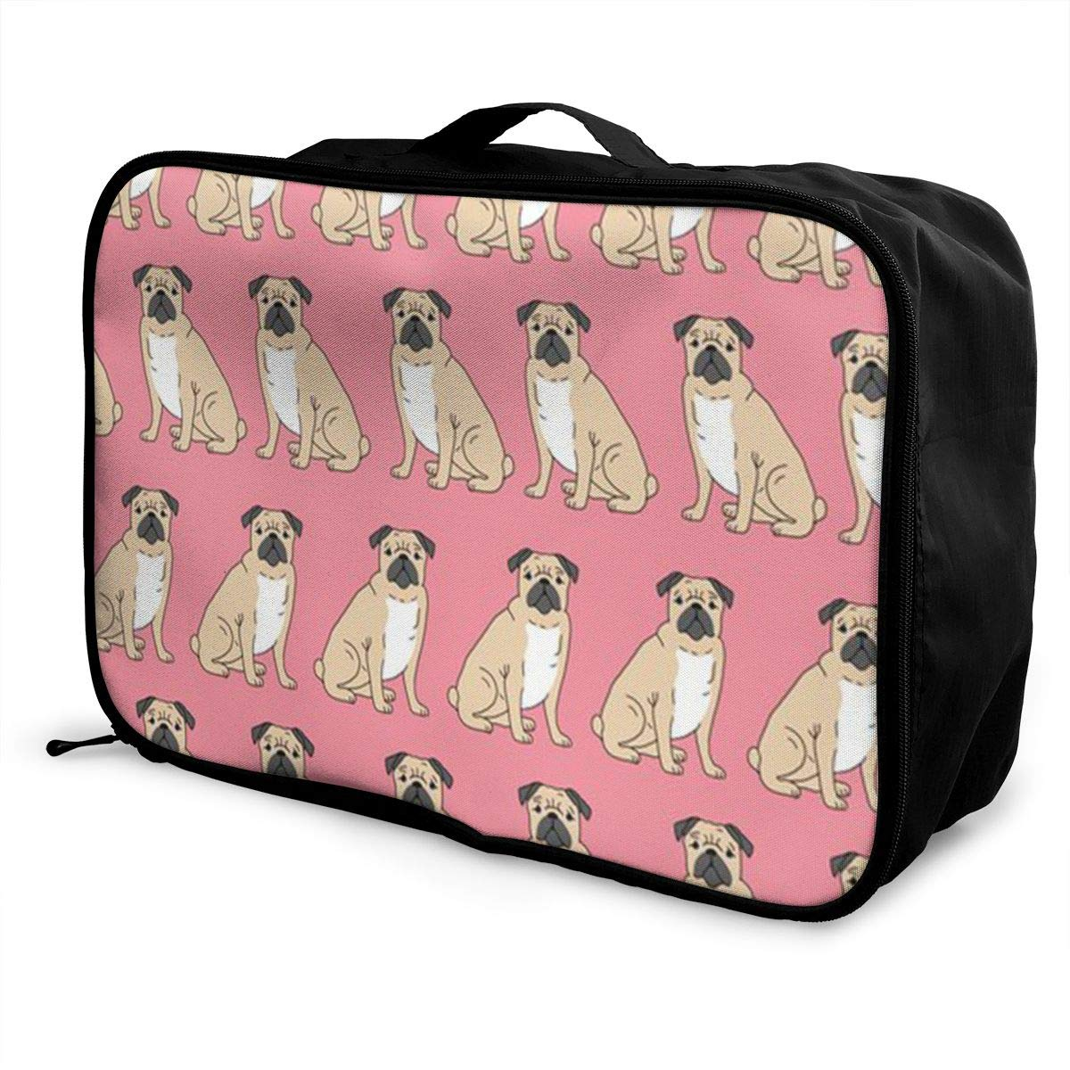 ADGAI Pug Sitting Pink Canvas Travel Weekender Bag,Fashion Custom Lightweight Large Capacity Portable Luggage Bag,Suitcase Trolley Bag