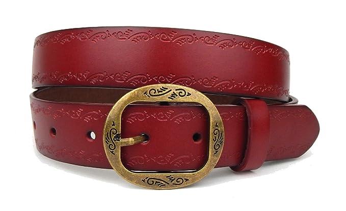 Ella Jonte ceinture femme rouge en cuir avec boucle à ardillon 3,3 cm  largeur 1468acf00db