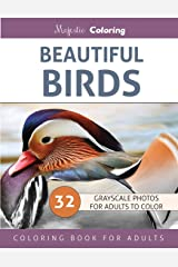 Beautiful Birds: Grayscale Photo Coloring Book for Adults Paperback