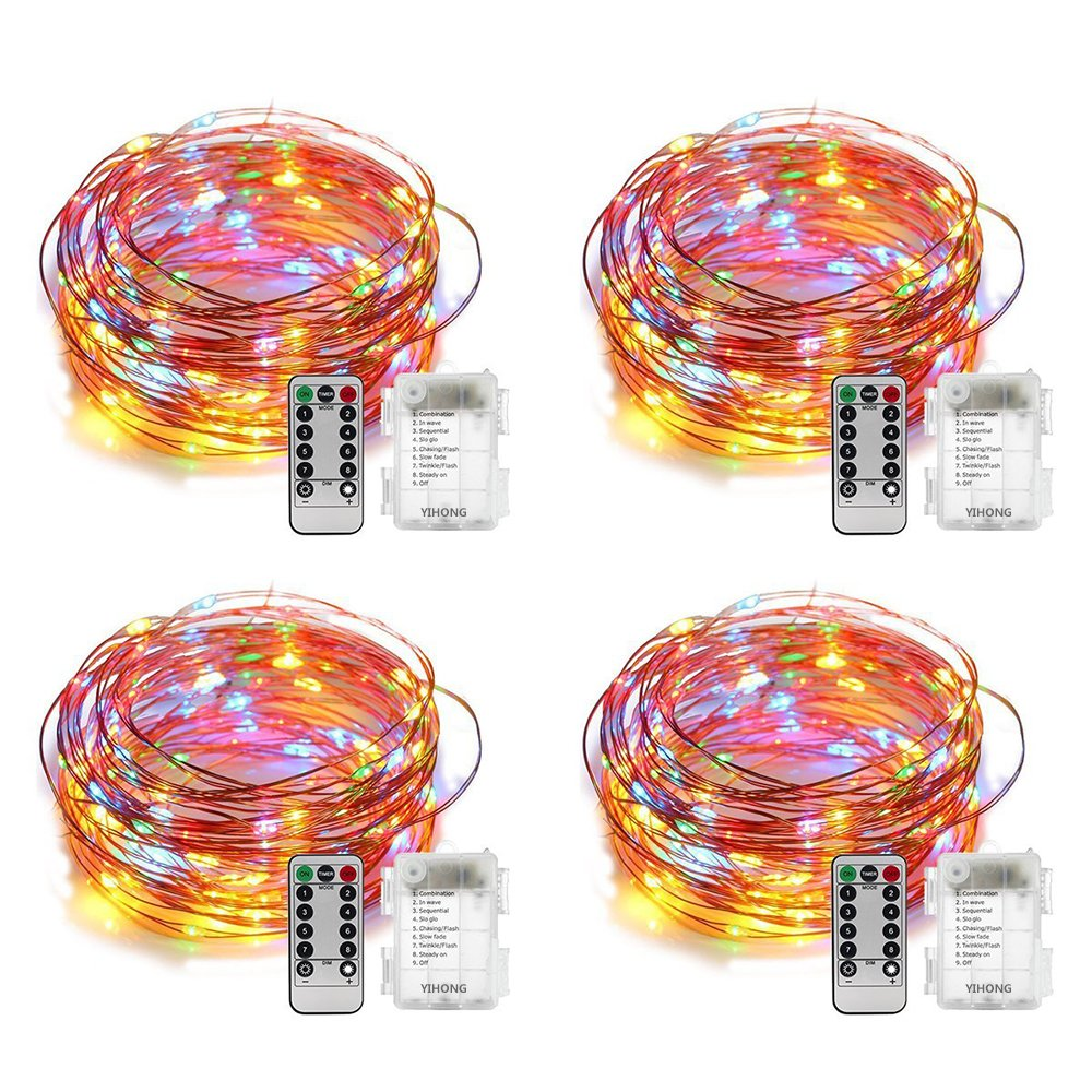 YIHONG 4 Set Fairy Lights Battery Operated String Lights Waterproof 8 Modes 50 LED Fairy String Lights 16.4FT Firefly Lights Remote Control for Halloween Thanksgiving Christmas Decor (Multicolor)