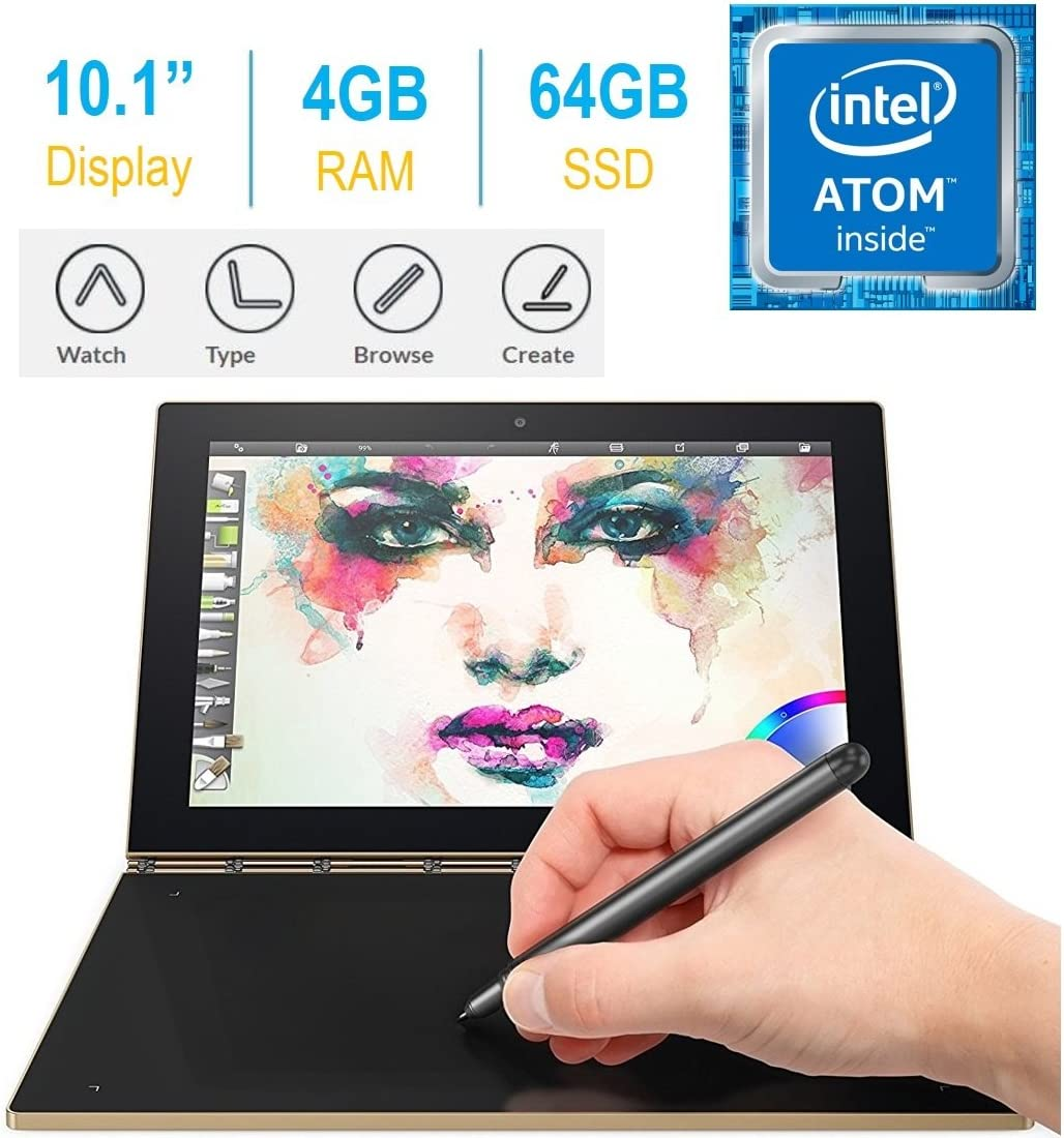 "2017 Newest Lenovo Yoga Book 10.1"" FHD Touch IPS 2-in-1 Convertible Tablet PC, Intel Atom x5-Z8550 1.44GHz, 4GB RAM, 64GB SSD, Bluetooth, HD Graphics, Android 6.0.1 Marshmallow OS- Champagne Gold"