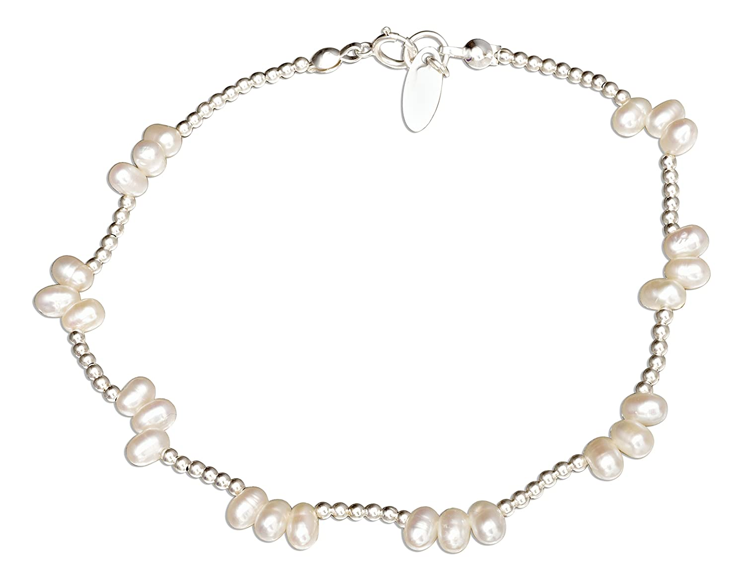Sterling Silver 9 inch Freshwater Pearl Cluster on 2mm Bead Chain Anklet