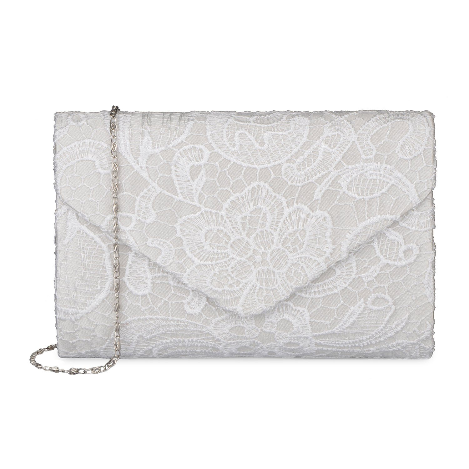 Baglamor Women's Elegant Floral Lace Envelope Clutch Evening Prom Handbag Purse 10477050