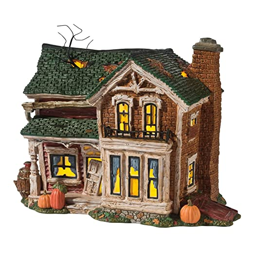 amazoncom department 56 original snow village halloween screech owl farmhouse lit house home kitchen