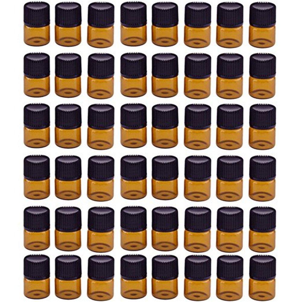 Vikenner 48 pz 1 ml olio essenziale bottiglie di vetro marrone ambra con riduttore e tappo vuoto liquido piccolo campione Collection flaconcini bottiglie barattoli per aromaterapia