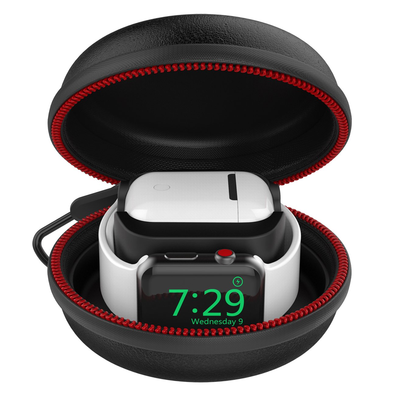 For Apple Watch Stand, Airpods Charging Case Station Dock [2 in 1] with EVA Protective Travel Carrying Case Holder for Apple Watch Charger Series 3/Series 2/Series 1/38mm/42mm & Airpods Accessories