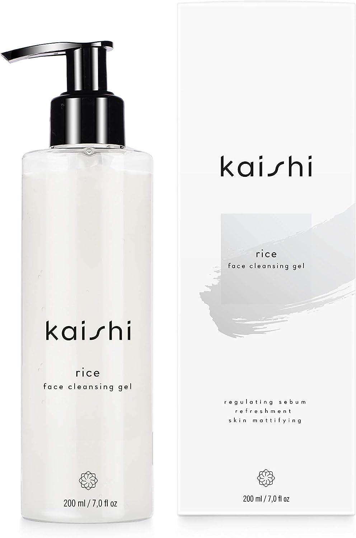 Kaishi - Gel limpiador facial de arroz Rice para refrescar, matificar y unificar el tono de la piel, 200 ml