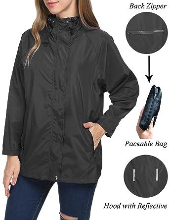 efee2975b Raincoat Women Lightweight Waterproof Packable Outdoor Travel Rain Anorak  Jacket