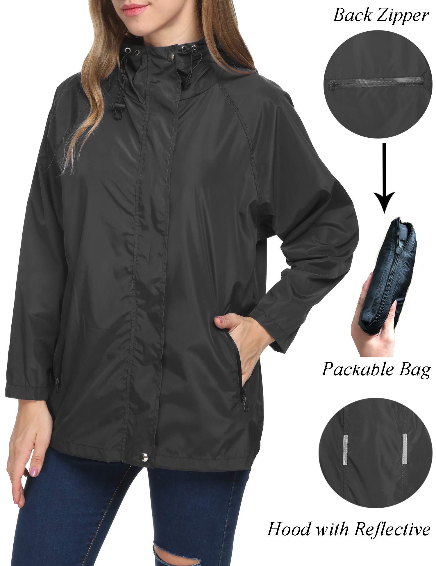 LOMON Raincoat Women Fashion Solid Rainproof Softwell Rain Jacket Outerwear(Black,XL)