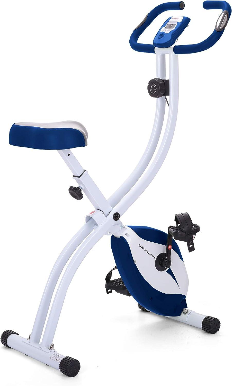 Ultrasport Bicicleta de ejercicio Unisex F-Bike, pantalla LCD, entrenador casero plegable, optativo, con respaldo, niveles de resistencia ajustables, con sensores de pulso de mano