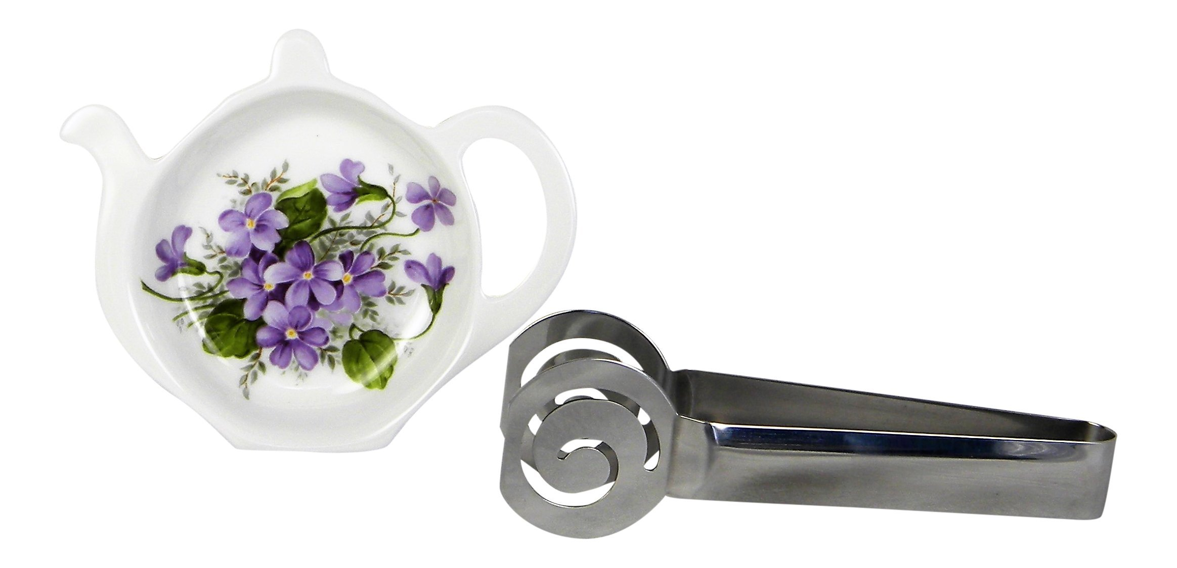 Adderley Bone China Tea Bag Coaster Caddy and Stainless Steel Tea Bag Squeezer England - Wild Violets