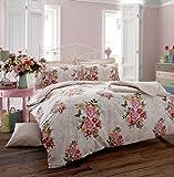 CREAM VINTAGE STYLE ROSE DUVET COVER BED SET (Superking)