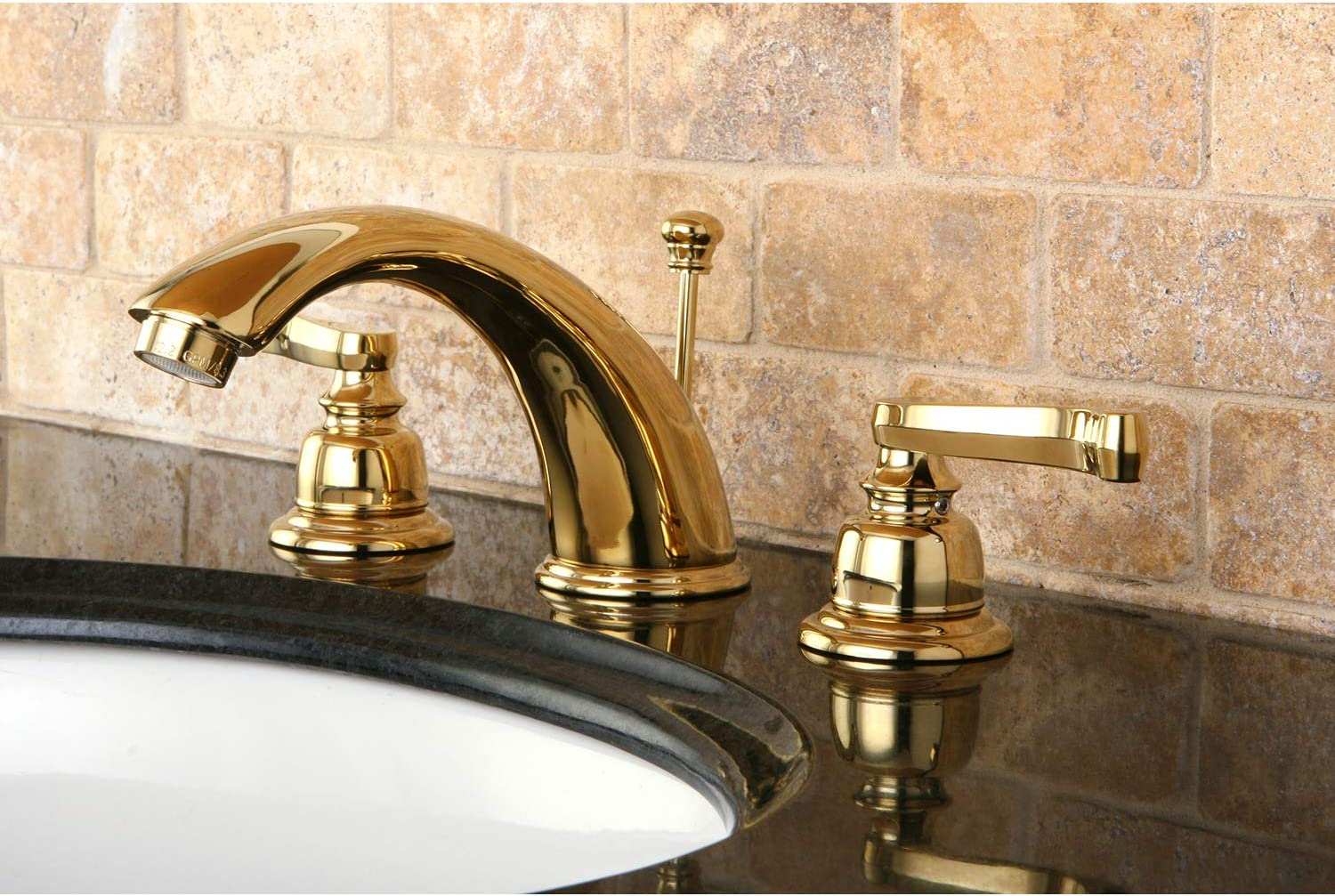 Kingston Brass Kb8962fl Royale Widespread Bathroom Faucet With Brass Pop Up Drain Polished Brass Touch On Bathroom Sink Faucets