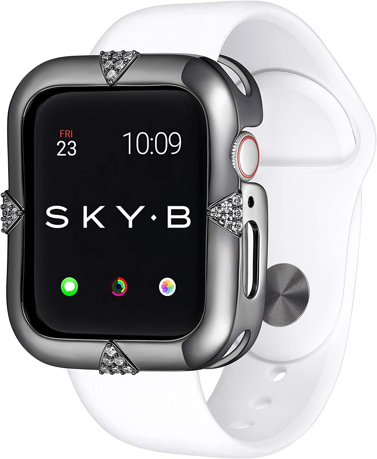 SKYB Pave Points Gunmetal Protective Jewelry Case for Apple Watch Series 1, 2, 3, 4, 5 Devices - 42mm