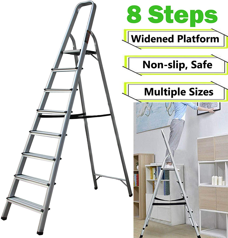 Escalera de aluminio antideslizante, 8 peldaños, plegable, ahorra espacio, ligera, portátil, herramienta (8 pasos): Amazon.es: Bricolaje y herramientas
