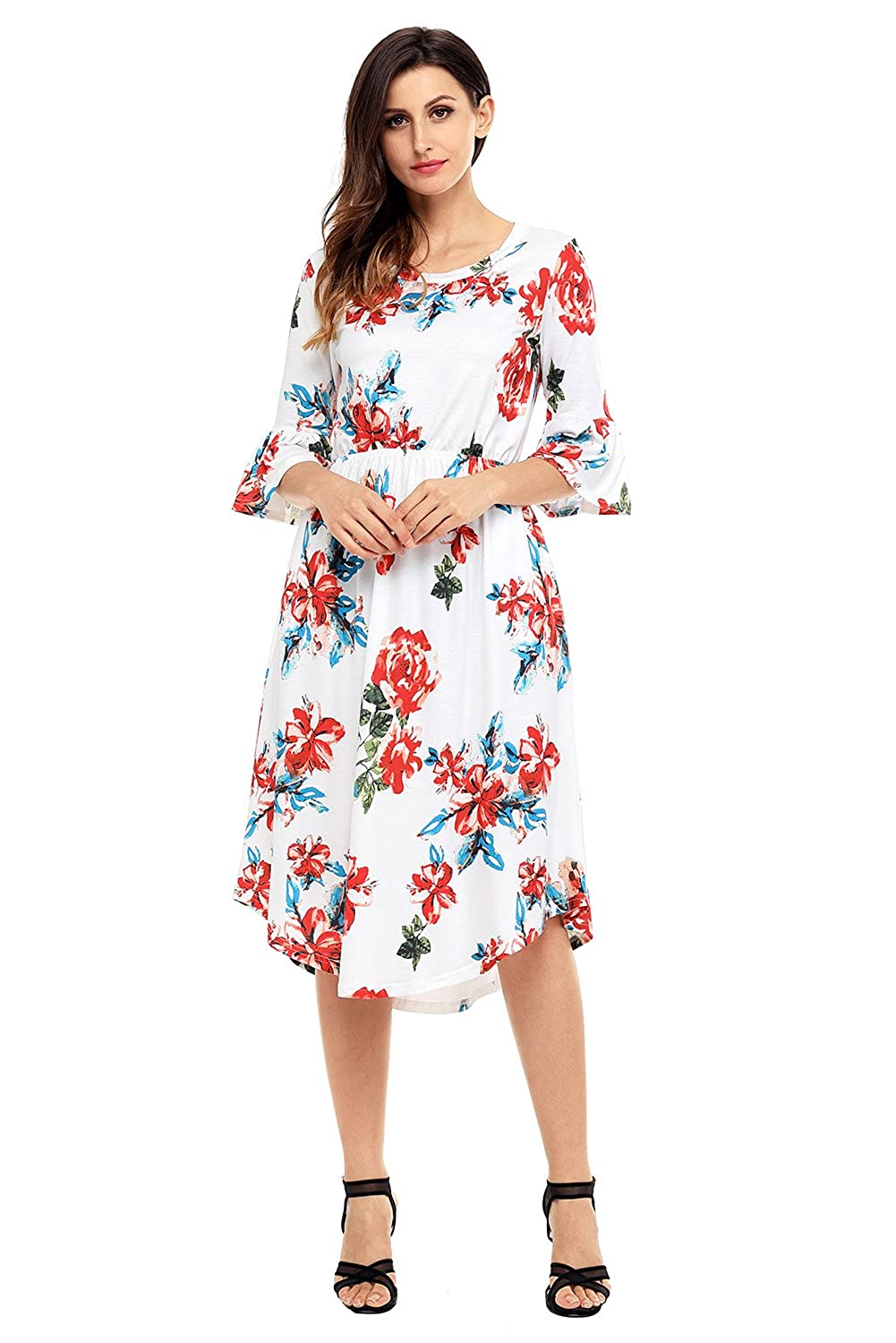 72b6007f8451 Annflat Women s Summer Floral Print Bell Sleeve Casual Midi Dress with  Pockets S-XXL at Amazon Women s Clothing store