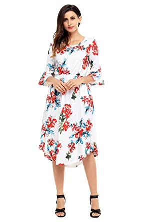 3379baca84a Annflat Women's Summer Floral Print Bell Sleeve Casual Midi Dress Large  White
