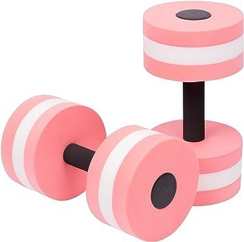 Qwhome Pesas de Espuma Unisex Adulto Aqua Dumbbell Aquatics Dumbbells Fitness Agua aeróbico Ejercicio Resistencia Ejercicios Piscina Equipo 2PCS,Pink: ...
