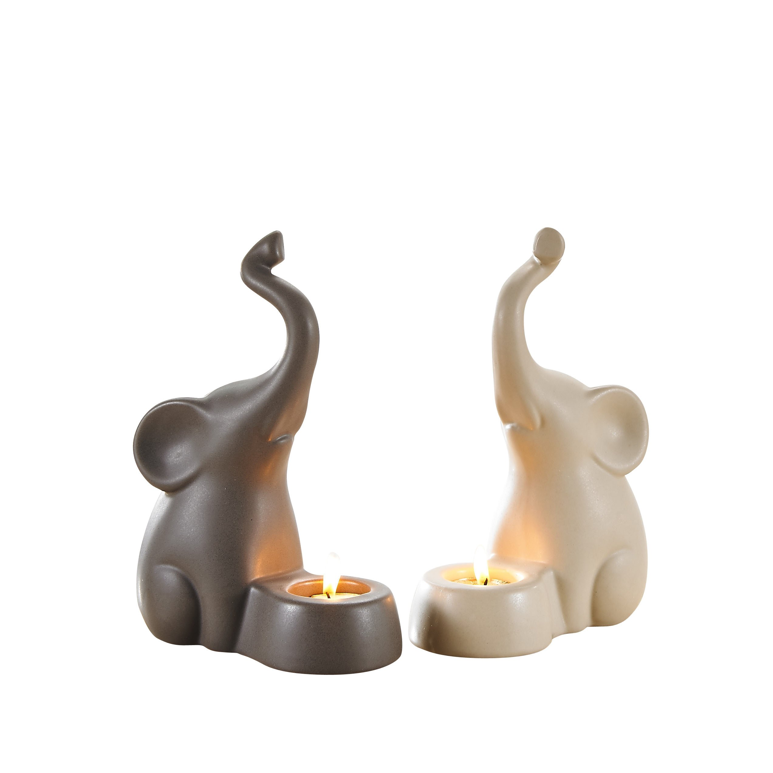 Pure.Lifestyle - 8.5'' Elephants Tea Light Candle Holders(Set of 2) - Two Colors Ceramic Decoration Animals Candlestick Holders Figurine Porcelain Sculptures Statues Crafts Home Warming Christmas Gift