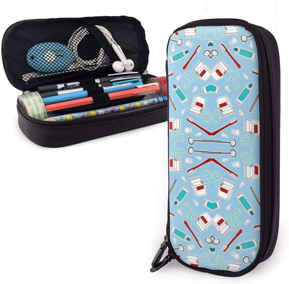 Cuero de PU impermeable de alto grado Dentista lindo Higienista dental Imprimir Estuche de lápices azul Estuche de lápices Escritorio