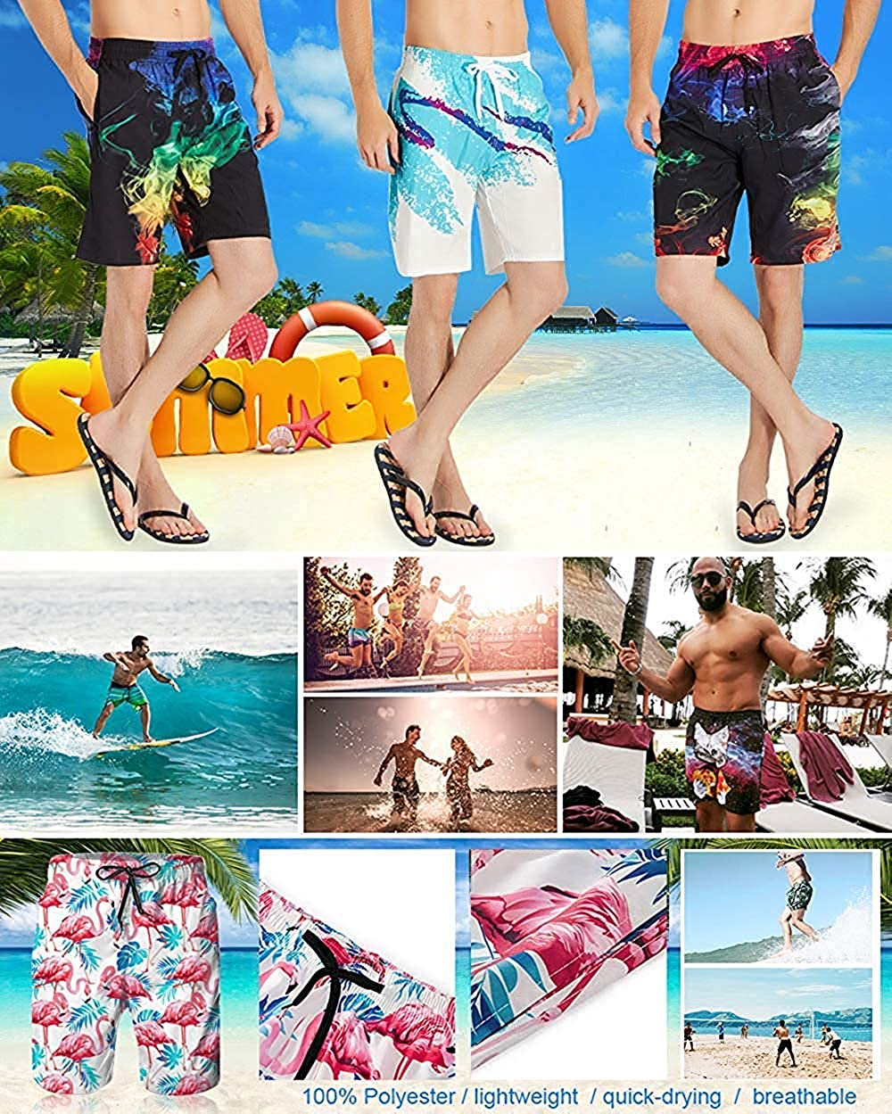 XGUPKL Mens Casual Beachwear Cool Cat with Sunglasses Board Shorts Home Shorts Swim-Trunks with Telescopic Tape