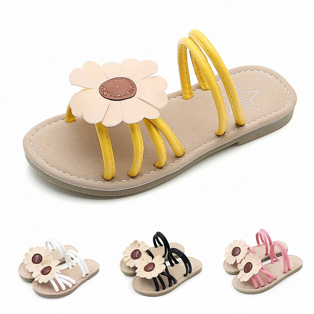 Girl's Flower Flat Sandal Slippers Cute Summer Open Toe Princess Dress Sandals for Kids(Toddler/Little Kid/Big Kid) Y-32