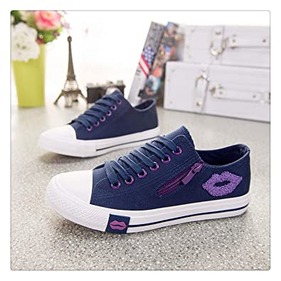 Amazon.com | Designer Women Sneakers Summer Zip Red Lips Canvas Shoes White Casual Shoes Comfortable Zapatillas Mujer Basket Femme deep Blue 5.5 | Fashion ...
