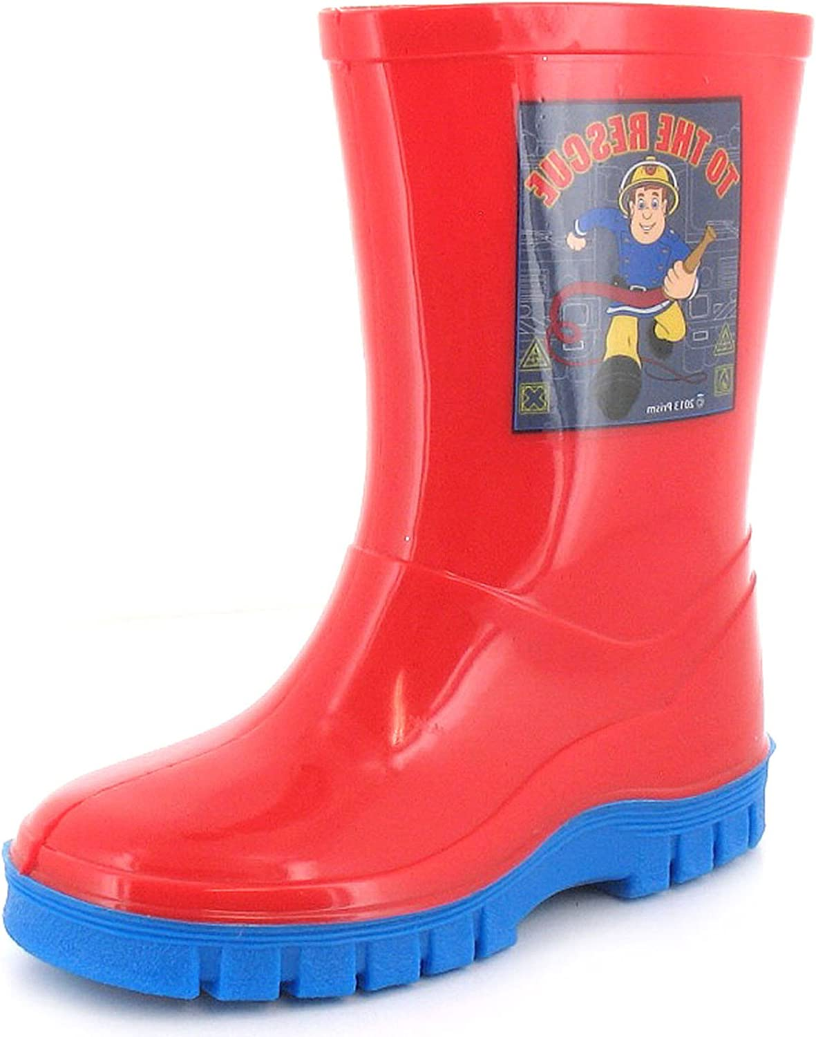 Fireman Sam BoysChildrens Red Wellington Boots with Blue Soles. Red UK Sizes 4 10