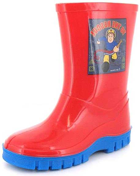 271f73781 New Boys Childrens Red Firemans Sam Wellington Boots With Blue Soles. - Red  -