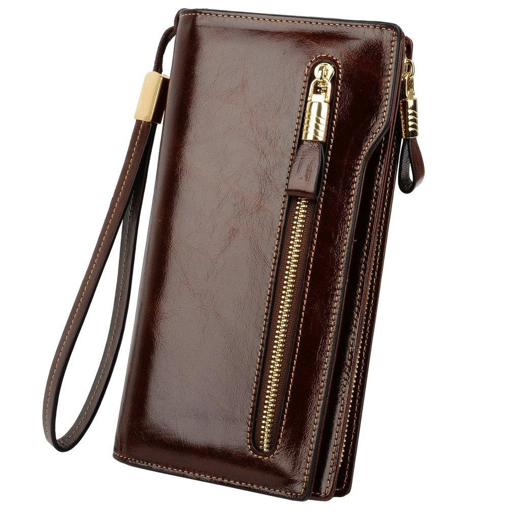 YALUXE Women's Large Capacity Luxury Waxed Leather Wristlet Wallet With Zipper Pocket Coffee Brown