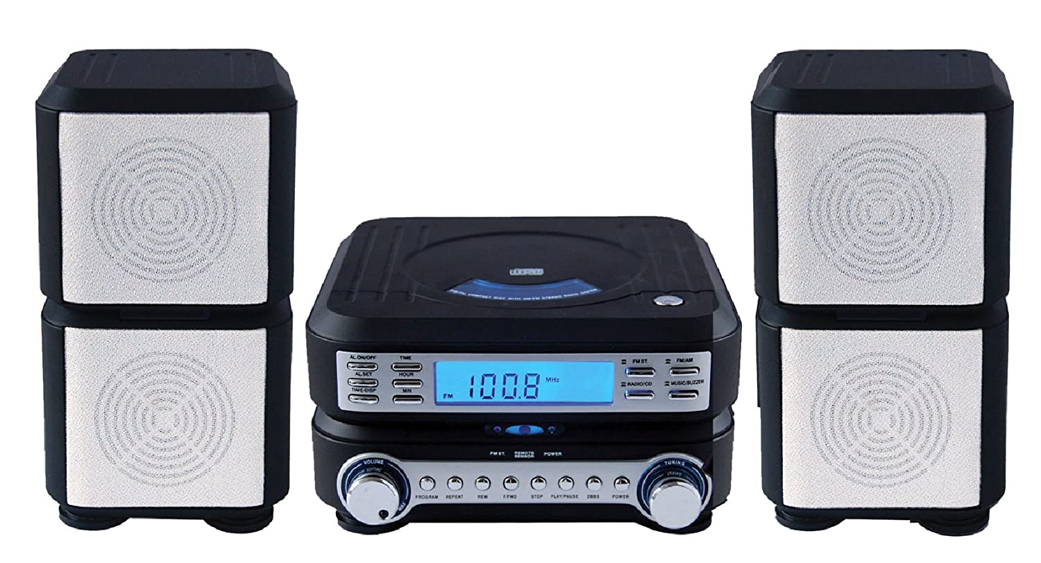 sylvania compact hi fi cd player micro system with stereo am fm radio and ebay. Black Bedroom Furniture Sets. Home Design Ideas