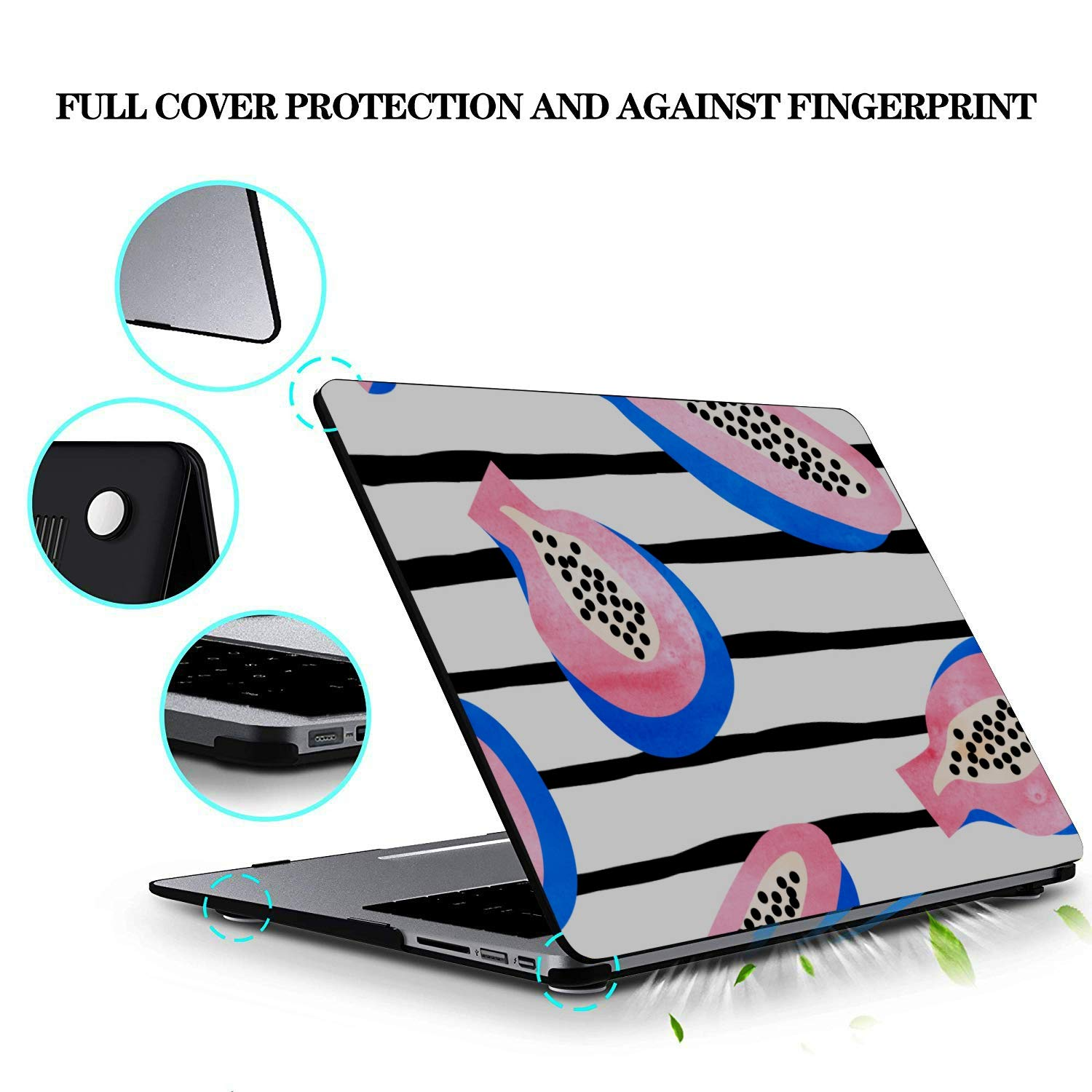 13 in Laptop Case Summer Fashion Cool Fruit Papaya Plastic Hard Shell Compatible Mac Air 11 Pro 13 15 MacBook Air 13 Inches Protection for MacBook 2016-2019 Version