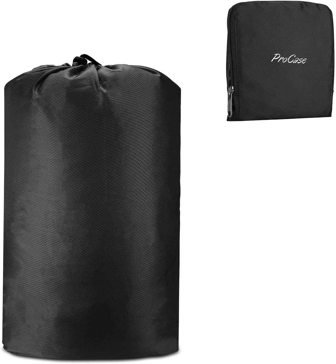 ProCase Travel Laundry Bag, Foldable Compressible Storage Pouch Sports Gym Laundry Bag Packing Organizer Bag for Dirty Clothes During Trip –Black
