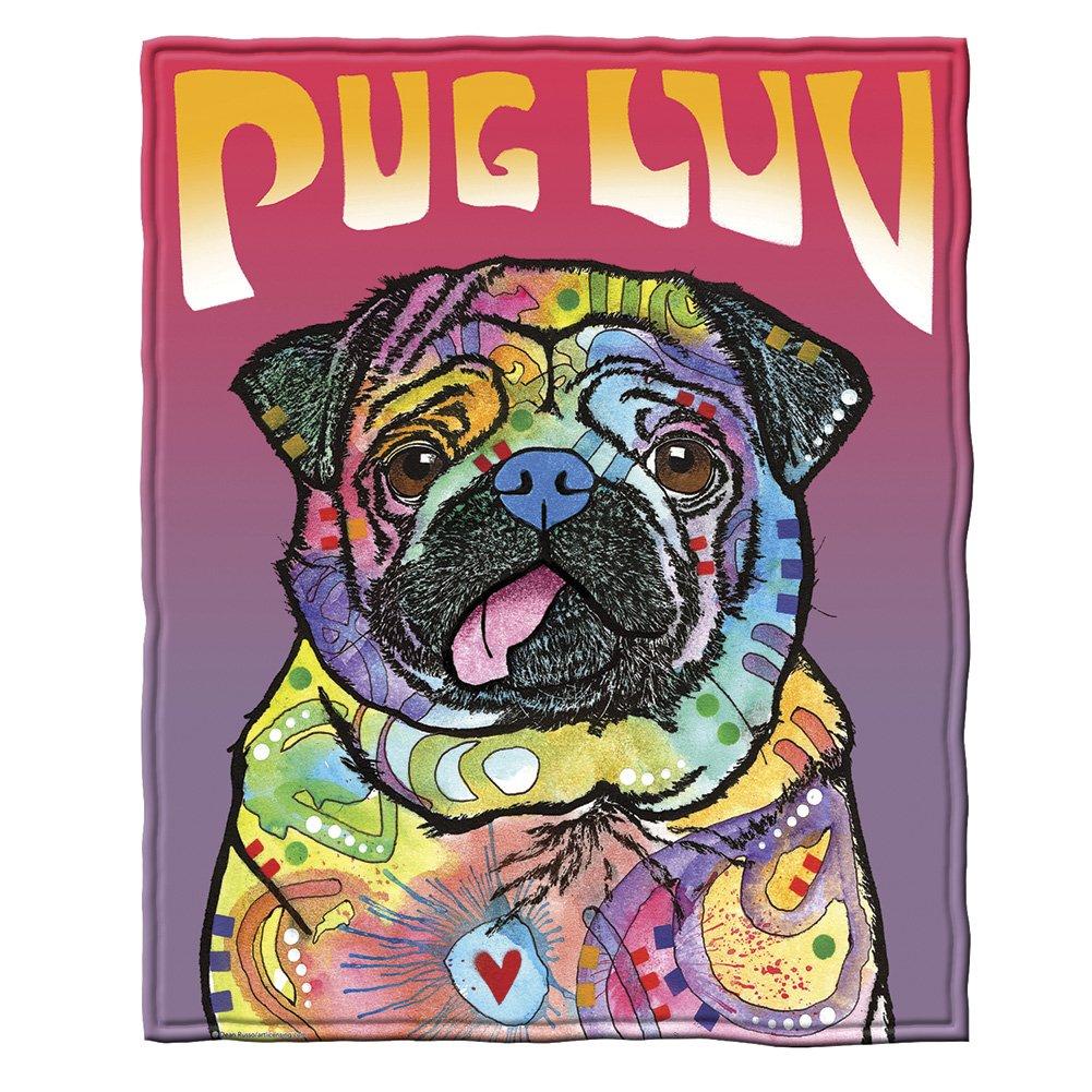 Dean Russo Pug Luv Fleece Throw Blanket