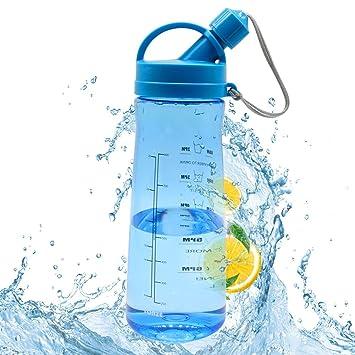 Botella Agua Sin BPA 1 Litro Botella Plastico Botellas de Agua Reutilizables con Filtro para Deportes