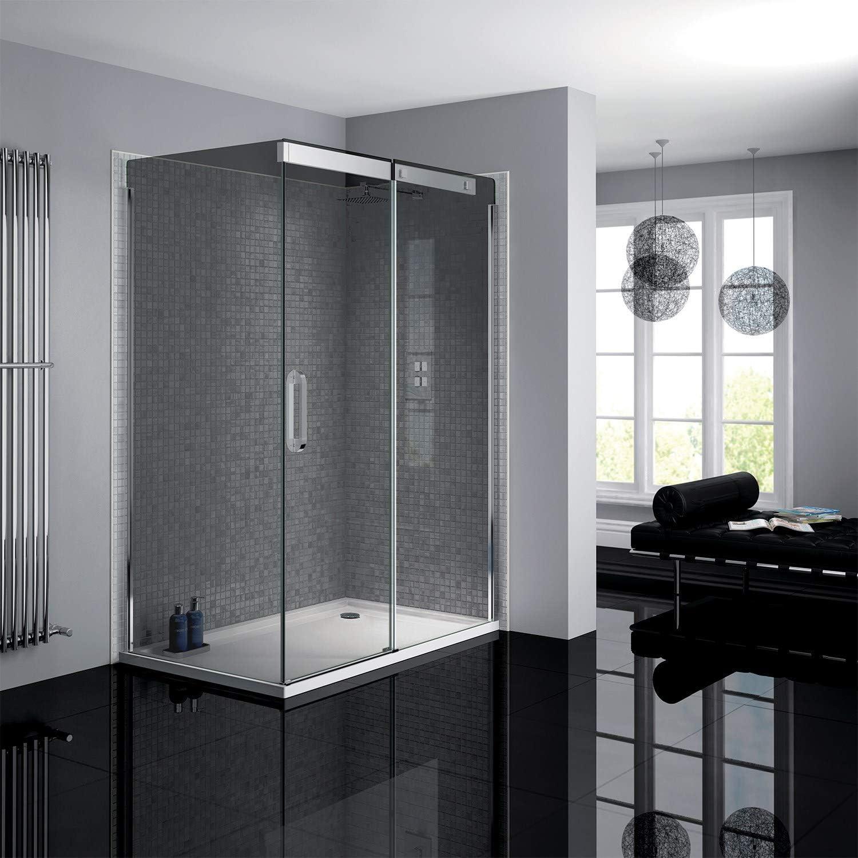 Neptune - Mampara de ducha con puerta corredera de cristal ahumado, 800 x 1400 mm: Amazon.es: Hogar