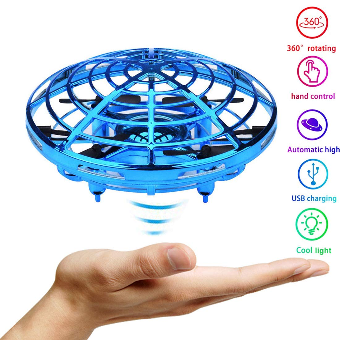 JTORD UFO Flying Toys for Kids Boys Hand-Controlled Flying Ball Interactive Infrared Induction Helicopter Ball 360° Rotating Shinning LED Lights Toys Gifts for Boys Girls Kids(Blue)