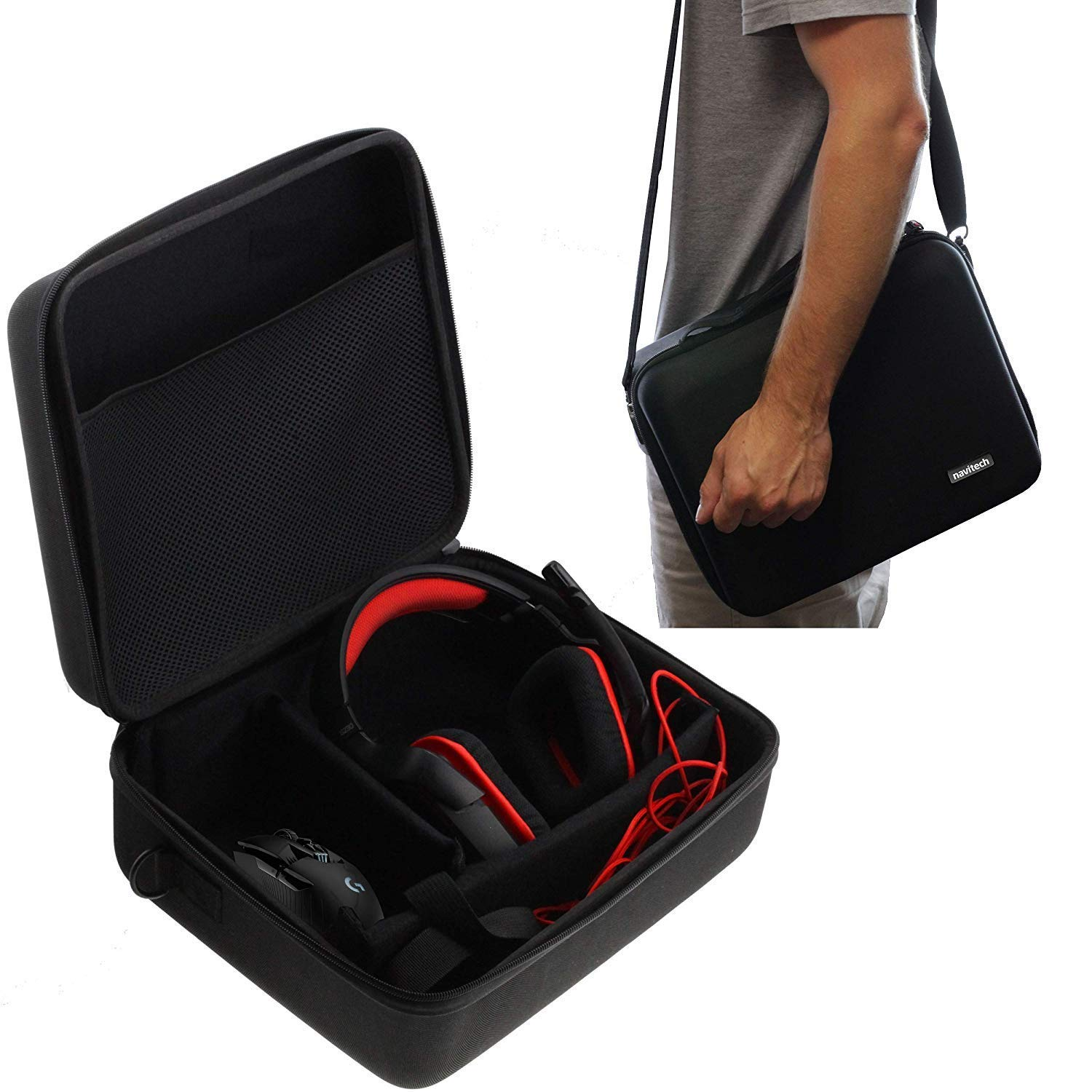 Navitech Black Hard Eva Carry Case Compatible with The Gaming Headset and Headphones Compatible with The SENNHEISER Game ONE//SENNHEISER Game Zero