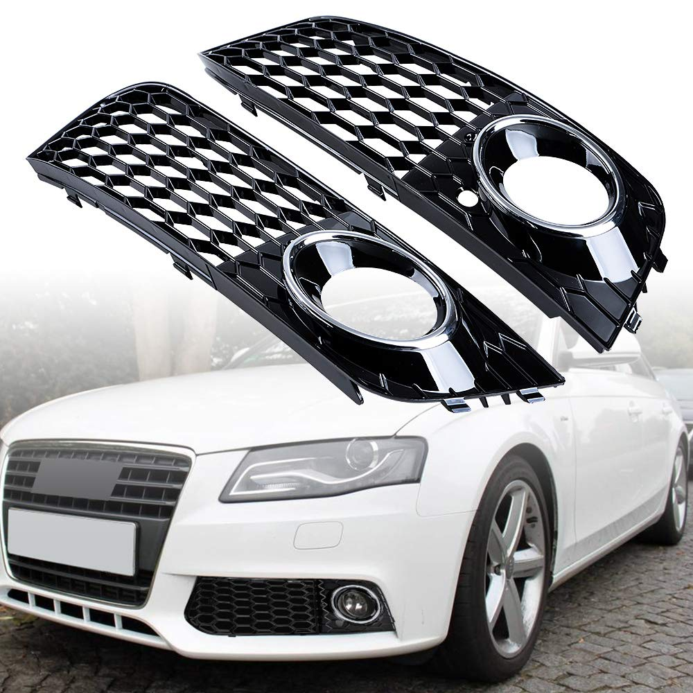 Glossy Black Astra-Depot Compatible with Audi A4 B8 Front Honeycomb Mesh Fog Light Air Vent Grille Intake Cover 08-12
