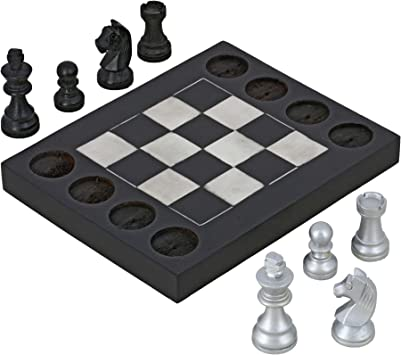 ShalinIndia Handmade Black and White Wooden Beginners Chess Set - Combines Chess & Tic Tac Toe - Teaches Basic Chess Moves