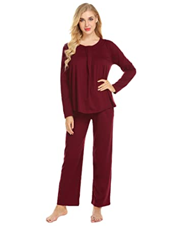 ccbfb26cfac Image Unavailable. Image not available for. Color  Ekouaer Women Long  Pajama Sets Nightgowns Sets Cotton ...