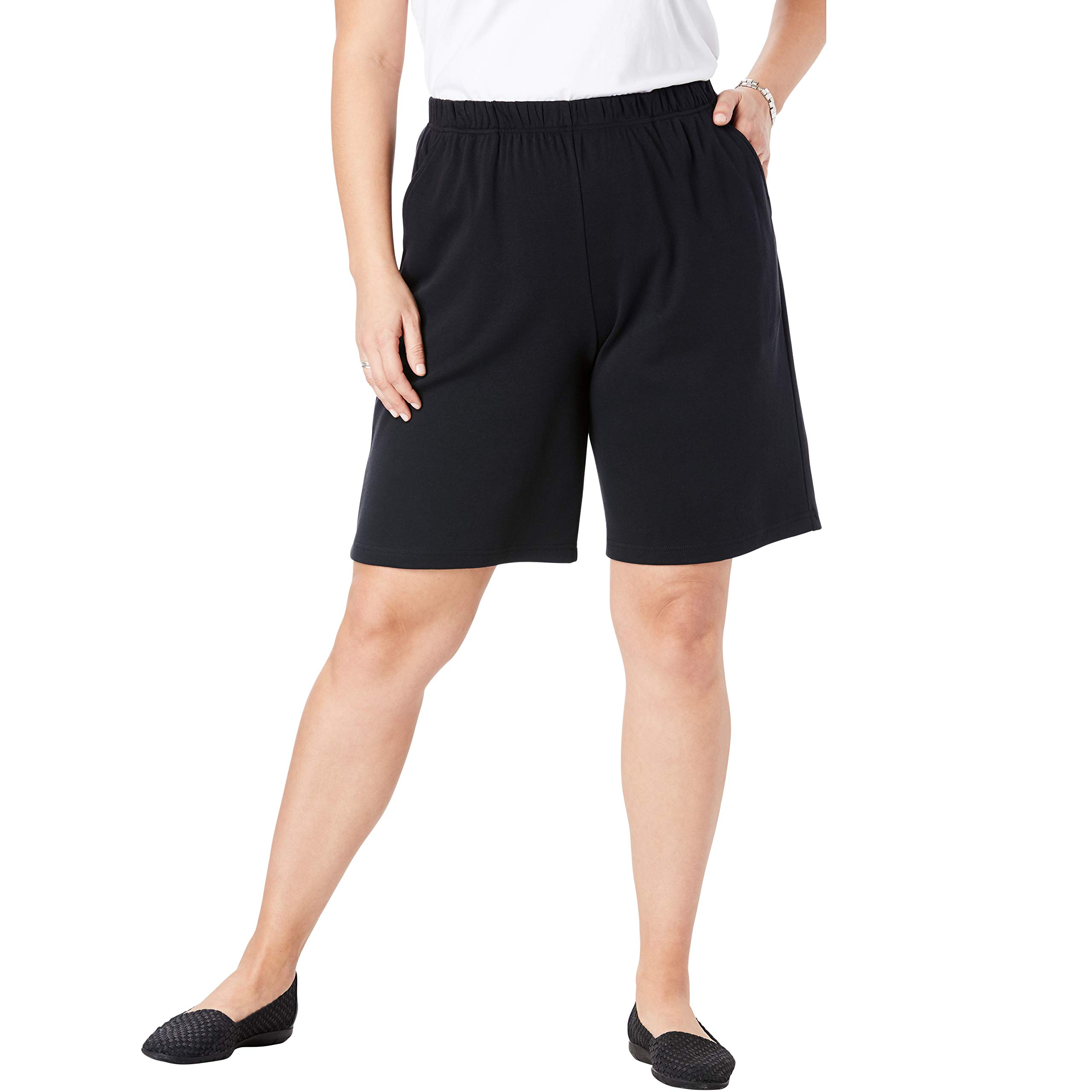 Woman Within Women's Plus Size 7-Day Knit Short - Black, 1X by Woman Within