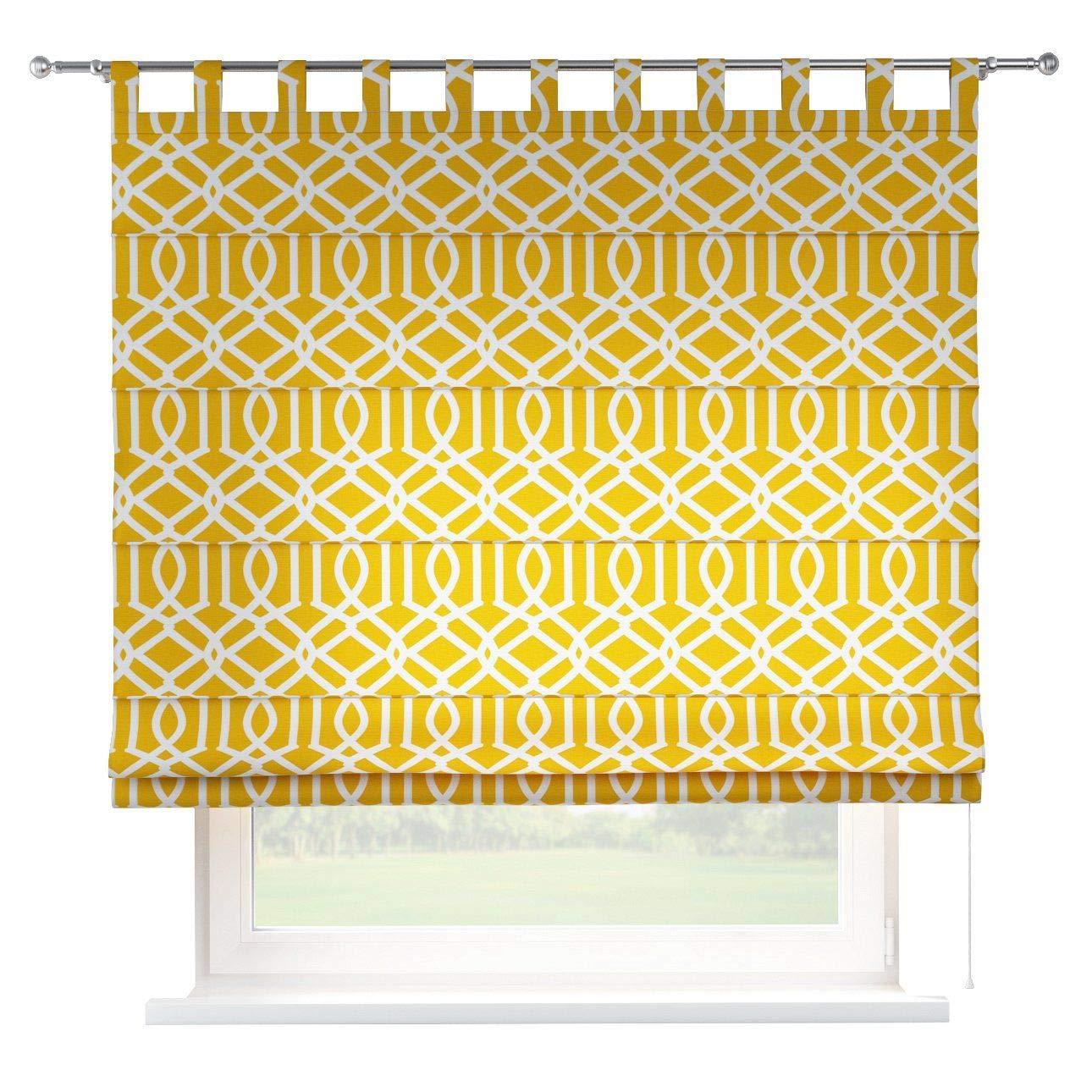 Dekoria Raffrollo Verona ohne Bohren Blickdicht Faltvorhang Raffgardine Wohnzimmer Schlafzimmer Kinderzimmer 160 × 170 cm gelb Raffrollos auf Maß maßanfertigung möglich