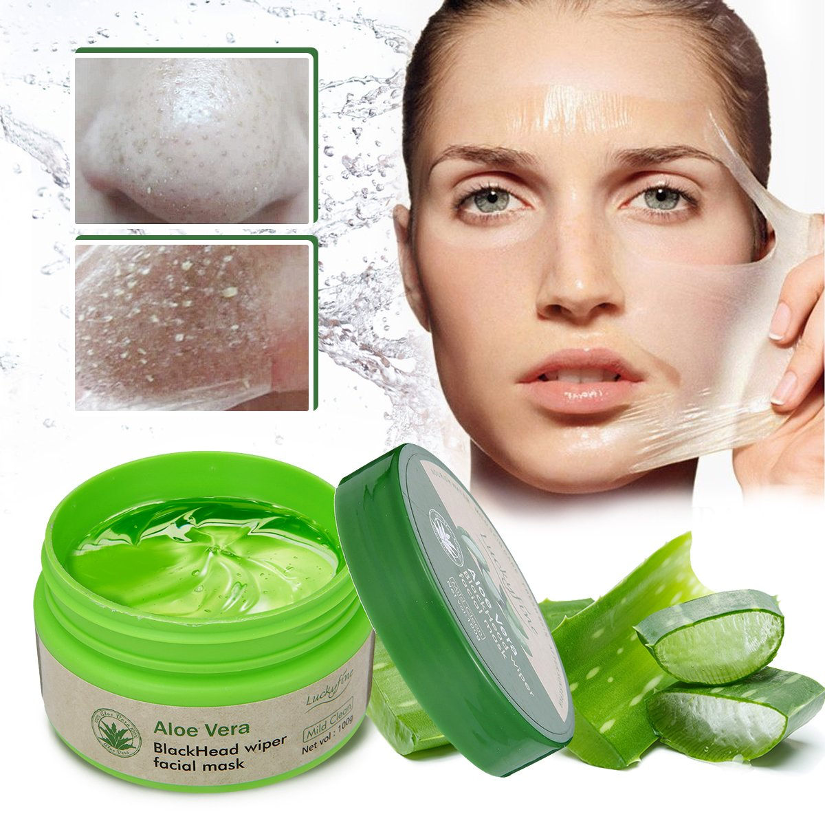 LuckyFine Aloe Vera Peel Off Facial Mask - Blackhead Removal - Purifying Deep Cleansing - Acne