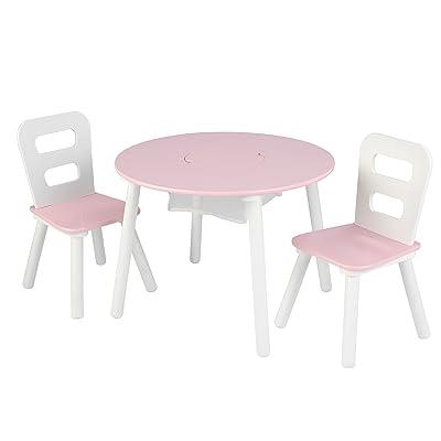 "KidKraft Wooden Round Table & 2 Chair Set with Center Mesh Storage - Pink & White, 26"" x 27"" x 3.5"" (26165): Toys & Games"
