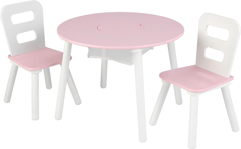 KidKraft 26165 Juego de mesa infantil redonda con almacenamiento y 2 sillas de madera: rosa y blanco , color/modelo surtido: Amazon.es: Juguetes y juegos