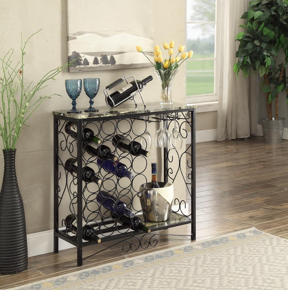 Black and Marble Look Top with 24 Bottles and Glass Holder Wine Organizer Rack Cabinet Kitchen 36''W